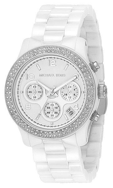 Michael Kors White Dial Ceramic Strap with Glitz Watch 5188