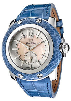 Glam Rock Miami Pink Mother Of Pearl & White Dial Blue Alligator $299.00.