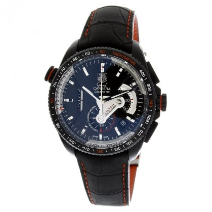 TAG Heuer Men's CAV5185.FC6237 Grand Carrera Leather Strap Chronograph Black Dial Watch $7300.50